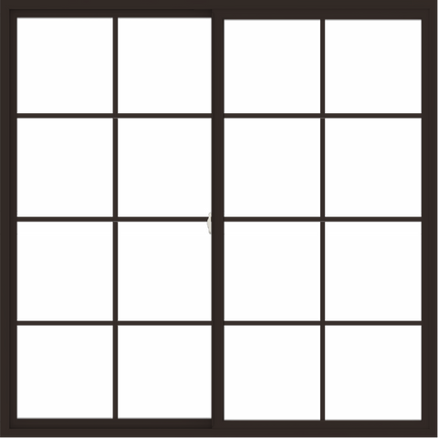 WDMA 72x72 (71.5 x 71.5 inch) Vinyl uPVC Dark Brown Slide Window with Colonial Grids Exterior
