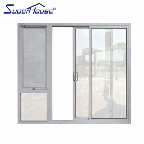 AS2047&CSA aluminum frame double glazed slim frame 3 panel sliding glass door on China WDMA