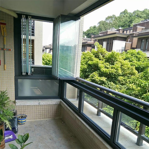 Aluminium Accordion Sliding Bi Fold Balcony Glazing Folding Invisible Frameless Double Glass Window With Thermal Break on China WDMA