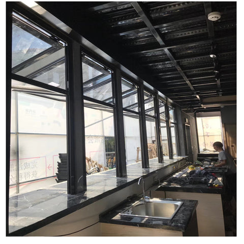 Aluminium Bi fold Window Fold Up Glass Windows American Vertical Roll Up Grid Folding Window For Bar Shop Coffee on China WDMA