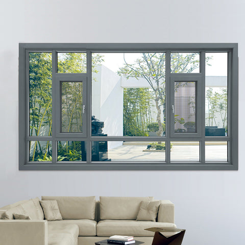 Aluminium Floor to ceiling large glass windows / casement window with mosquito net on China WDMA