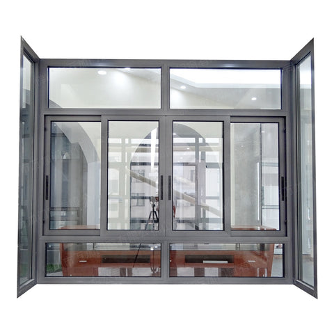 Aluminium Powder Coated Balcony Patio Toughened Glass Sliding Bay Window on China WDMA