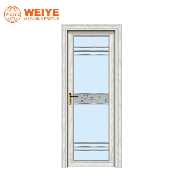 Aluminium alloy frame tempered modern interior bathroom wooden door with elegant glass design on China WDMA