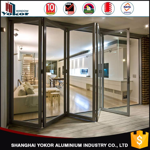 Aluminium bifold low-e double glazed panel doors prices easy to install on China WDMA