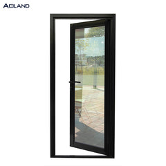 Aluminium black french door exterior shopfronts design inward open for commercial building on China WDMA