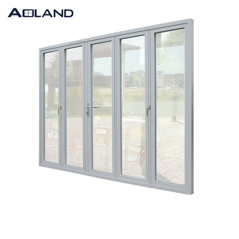 Aluminium double glazed patio garden area bi folding door simple design glass door on China WDMA