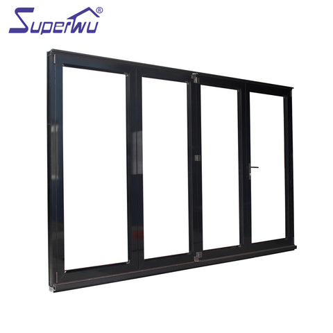 Aluminium fashion design cost saving impact resistant reflective glass accordion doors with vent on China WDMA