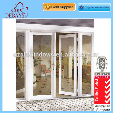 Aluminium glass double side hung hinged entry french doors on China WDMA