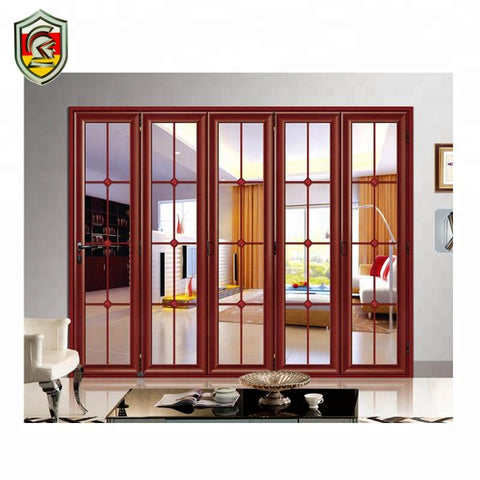 Aluminium lowes glass patio accordion doors front house exterior folding door on China WDMA