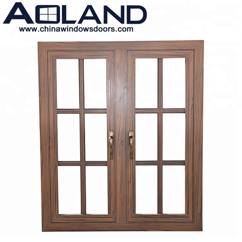 Aluminium side hung wood color double french casement window with AS 2047 on China WDMA