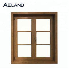 Aluminium wood grain casement windows with toughened glass on China WDMA