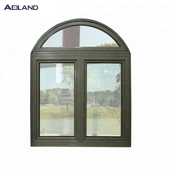Aluminium wooden color top arched casement windows good quality with tempered glass on China WDMA