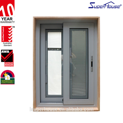Aluminum Glass Sliding Windows Fire Rated Residential Interior Timber Reveal Double glazed blinds inside Windows With grille on China WDMA