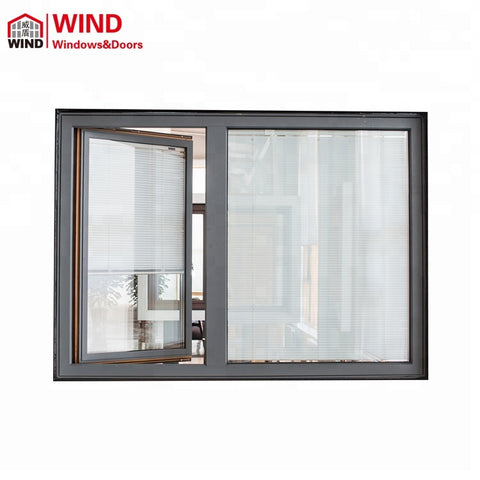 Aluminum Wood Inward Opening Casement Windows with Built in Blinds on China WDMA