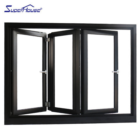 Aluminum alloy frame material bi folding glass windows on China WDMA