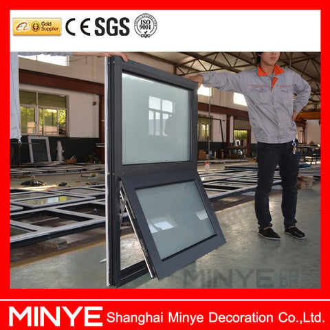 Aluminum awning window with double tempered glass/awning window opener/top hung casement windows on China WDMA