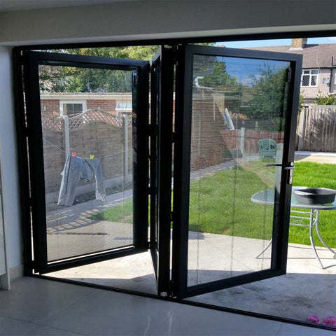 Aluminum bifolding door for big view with retractable screen on China WDMA
