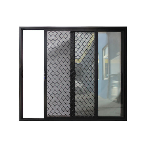 Aluminum commerical large sliding glass door with security screen on China WDMA