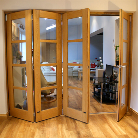 Aluminum door for big view with stopper bi folding window doors for bedroom with clad wood design on China WDMA