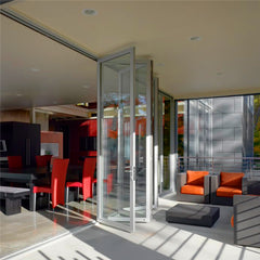 Aluminum exterior bifold door with 6mm double tempered glass on China WDMA