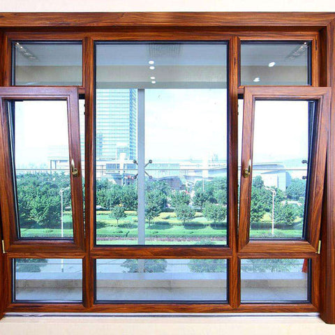 Aluminum frame Tempered Double glass Hung windows with top hinges on China WDMA