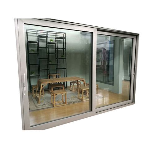 Aluminum french style sliding patio doors with gray color and double glass on China WDMA