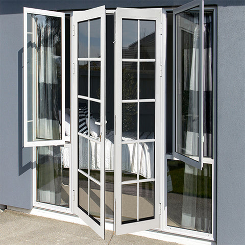 Aluminum glass panel accordion bifold folding door with built-in blinds on China WDMA