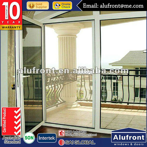 Aluminum high quality french door with inside blinds,meet Australian standard on China WDMA
