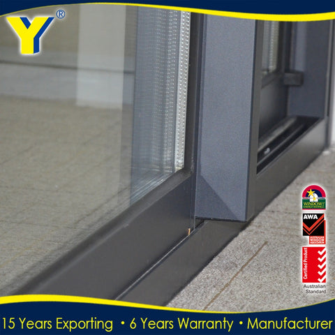 Aluminum sliding door with double glazing and anti-theft grid on China WDMA