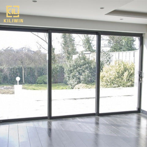 Aluminum windows and sliding doors living room patio 3 panel black color aluminium double temper low e glass sliding door on China WDMA