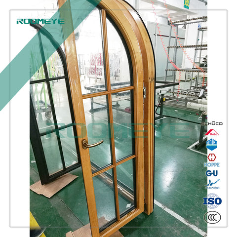 Aluminum wood double glazing arch window on China WDMA