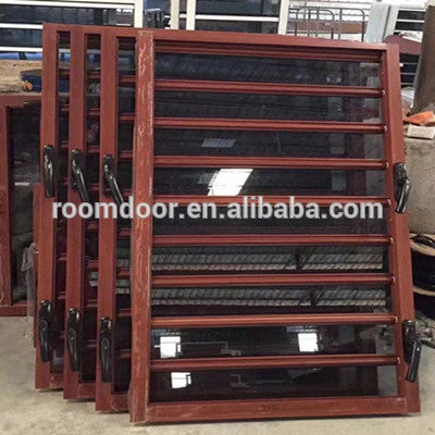 Aluminum wood jalousie windows with an-ti mosquito net/insect on China WDMA