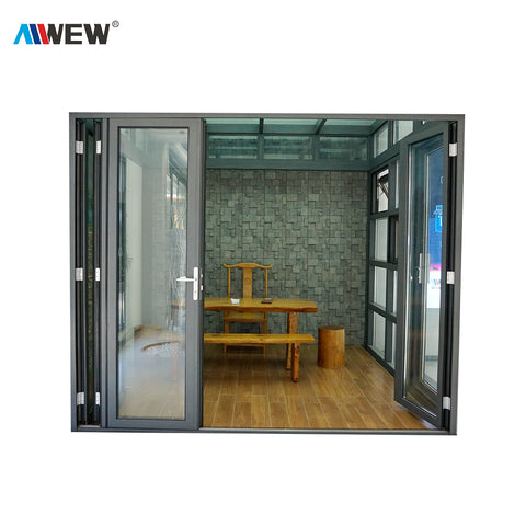 Alwew Aluminum Glass Patio Exterior Bifold Doors Double Glazing aluminum sliding door on China WDMA