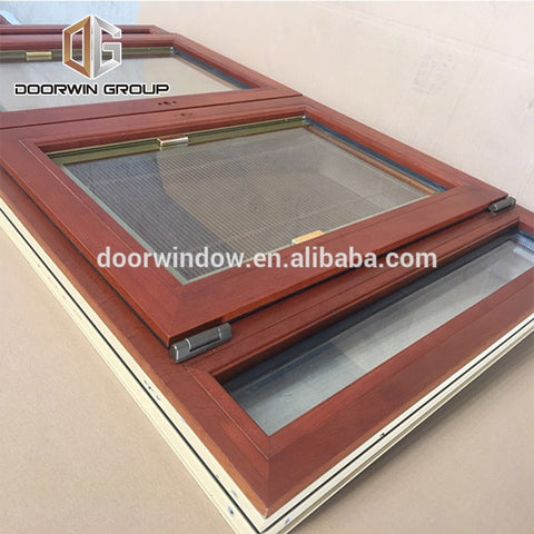 American oak wood clad aluminum france windows tilt turn window with built in shutter on China WDMA