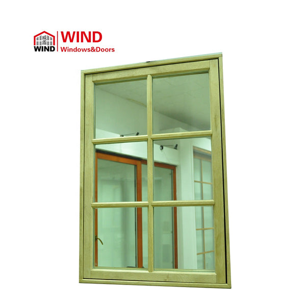 American style aluminium-wood composite crank open windows double glass on China WDMA