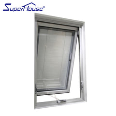 American style double glass aluminium frame thermal windows with integral blinds on China WDMA