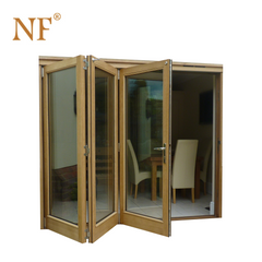 Antique wood look aluminum double glass sliding foldable stackable door on China WDMA on China WDMA