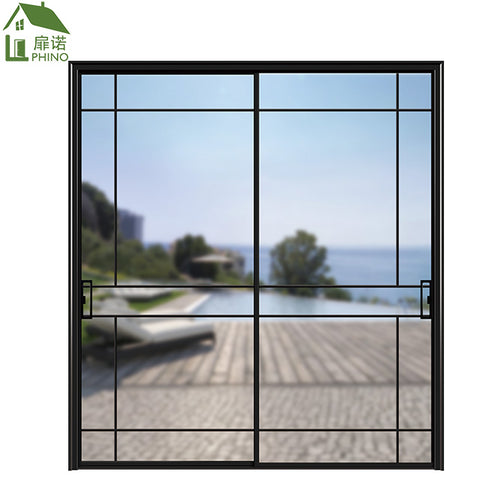 Apartment balcony double tempered glass double pane track rail aluminium sided Sliding glass door on China WDMA