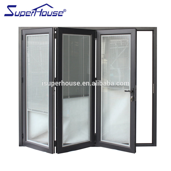 Australia AS2047 standard double glass economic sliding and folding door mechanism with blinds inside on China WDMA
