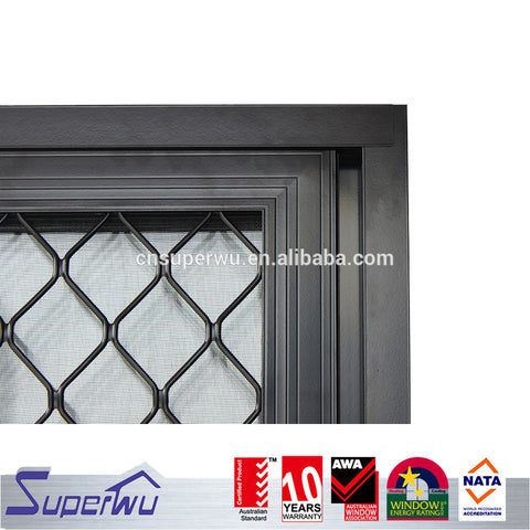 Australia commercial system aluminum frame sliding door with stainless steel security grill cheap sliding door on China WDMA