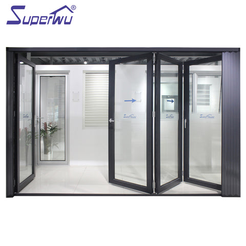 Australia standard aluminium bifold door design top quality double glaze lowe bifolding door on China WDMA