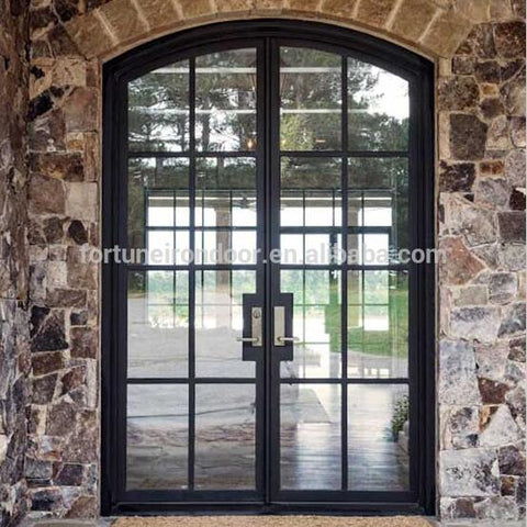 Australia standard double glazed exterior iron french doors with tempered insultating double glass on China WDMA