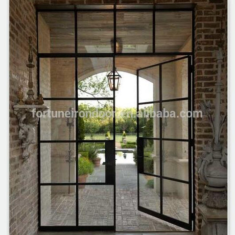 Australia standard double glazing french thermal break steel door with fly screen on China WDMA