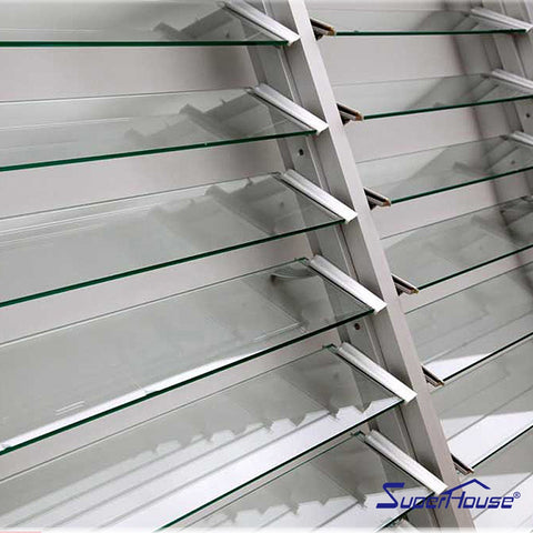 Australia standard waterproof powder coating white color glass jalousie louver window shutters on China WDMA