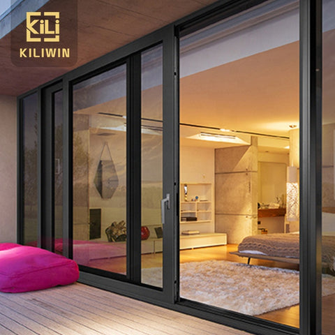 Australia standard windows and doors black double glazed low e glass soundproof exterior patio aluminum sliding door on China WDMA