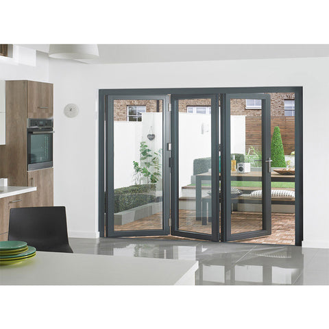 Australian standard 4 panel lowes folding style sliding french doors exterior with retractable fiberglass mosquito net on China WDMA