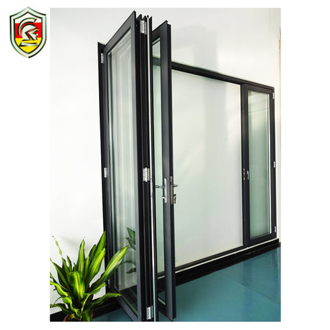 Bahamas modern style double laminated safety glass patio sliding accordion bifold doors on China WDMA