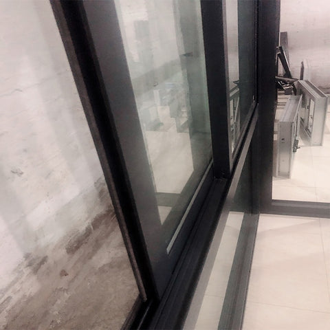 Balcony standard glass double pane sliding window aluminum frame size on China WDMA