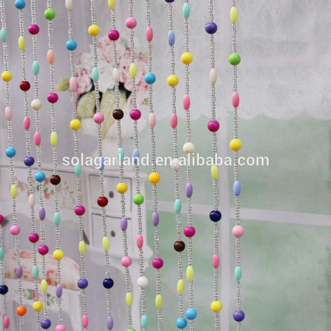 Beautiful !! Factory Wholesale Opaque Colorful Round Rice Acrylic Crystal Beaded Curtains For Doorway Decoration on China WDMA
