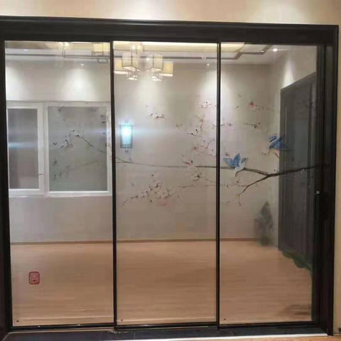 Best price narrow frame 3 panel patio sliding door with standard sizes on China WDMA